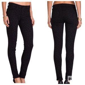 J Brand Super Skinny BLK Leopard Jeans Sz 28